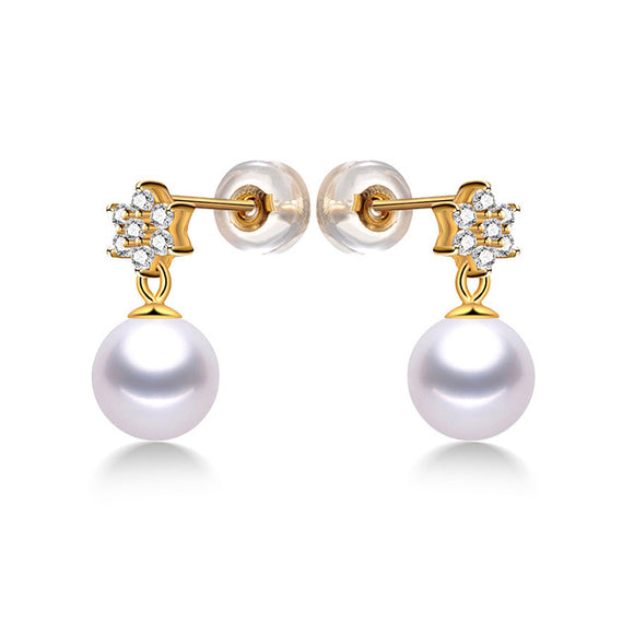 Stylish 14K Yellow Gold Stud Earrings with Stunning Natural Pearls