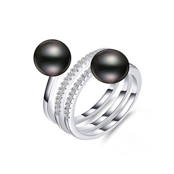 Superior Double Pearls Ring with Stunning White/Pink/Purple/MultiC Natural Pearls & Sterling Silver