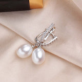 Glitzy Sterling Solid Silver Drop Earrings with Natural Freshwater Pearls