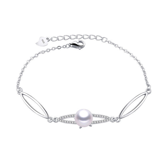 Attractive Sterling Solid Silver Bracelet with a Charming Natural Freshwater Pearl