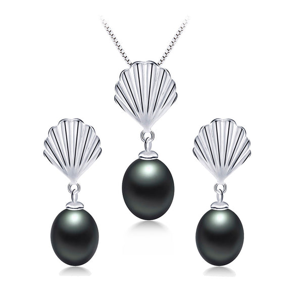 Simple S925 Sterling Silver Jewelry Set with Natural Freshwater Pearl