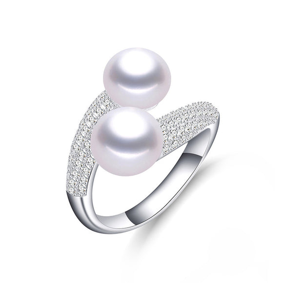 Featured Charming S925 Solid Silver & Double Natural Freshwater White/Pink/Purple Pearls Ring