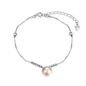Soft Single Pearl Silver/Pink Bracelet made of 925 Silver Jewelry
