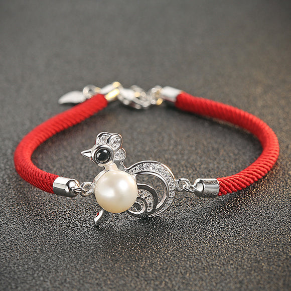 Eye-catching Pearl Red Bracelet - 925 Silver Jewelry with Animal Design