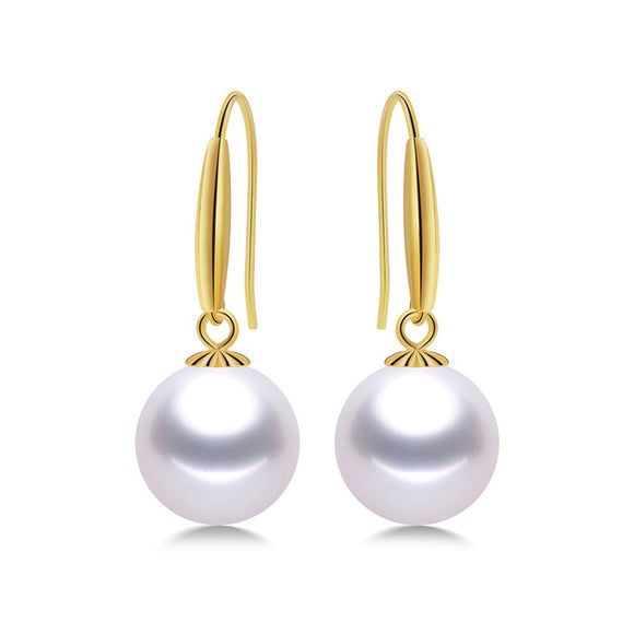 Charming 18K Yellow Gold Earrings with Glittering Round 8-9 mm Natural Freshwater Pearls