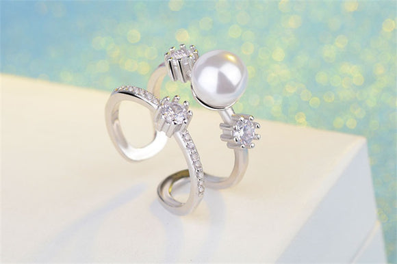 Genuine 925 Sterling Silver Ring with Stunning Natural Freshwater Pearl