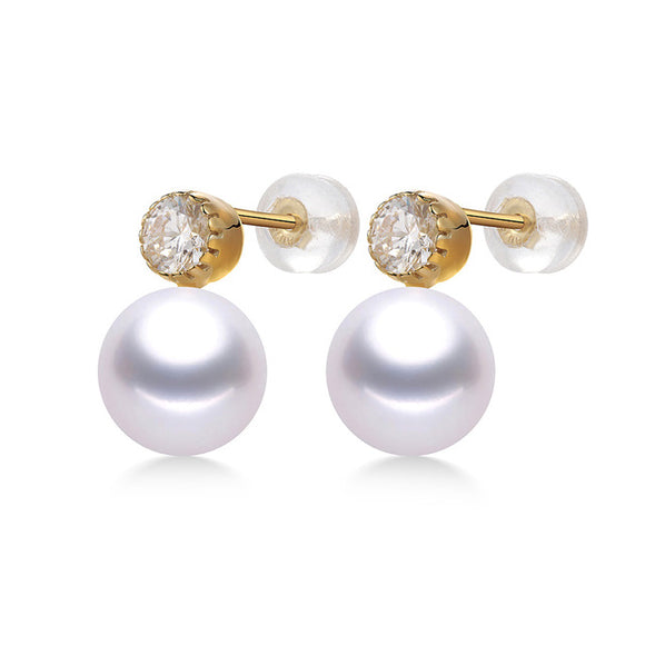 Glittering 18K Yellow Gold Stud Earrings with Charming Natural Freshwater Pearls