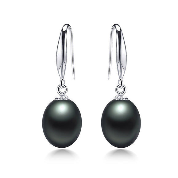 Elegant S925 Silver Drop Earrings with Glittering Natural Freshwater Pearls