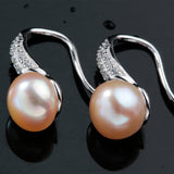 Classic Sterling Silver Drop Earrings with Fine 8-9 mm Natural Freshwater Pearls