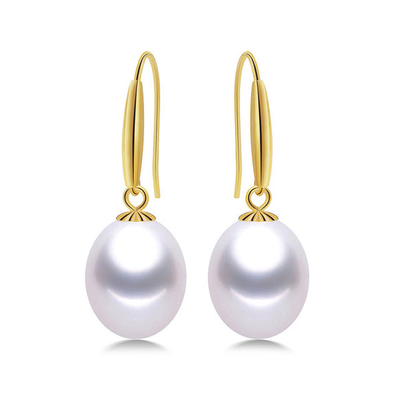 Elegant Earrings - 18K Yellow Gold and High Quality Natural Freshwater Pearls