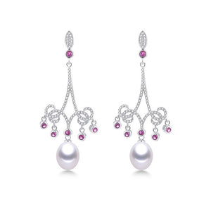 Edgy Sterling Silver Drop Earrings with Sparkling Natural Freshwater Pearls