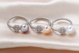 Lovely Solid Silver S925 Ring with Glittering Natural Freshwater Pearl