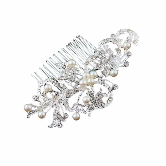 Leaf Design Diamond & Pearls Hair pin