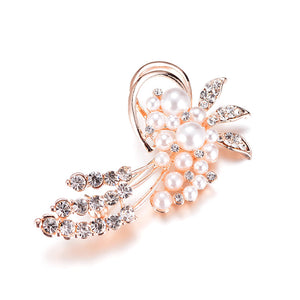 Classy Brooch with Crystal & Simulated Flowery Pearls