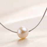 Simple Sterling Silver Necklace with Charming Natural Freshwater Pearl