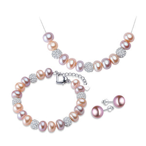Exceptional Jewelry Set of Necklace, Bracelet and Earrings - All Natural Freshwater Pearls
