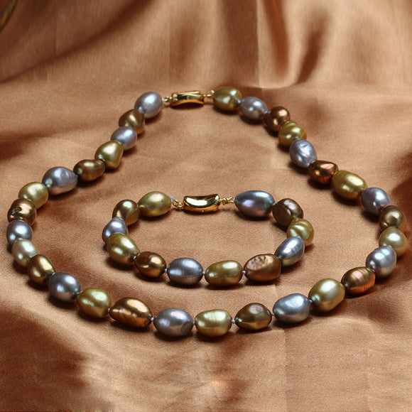 Fashionable Natural Pearls Jewelry Set of Necklace+Bracelet