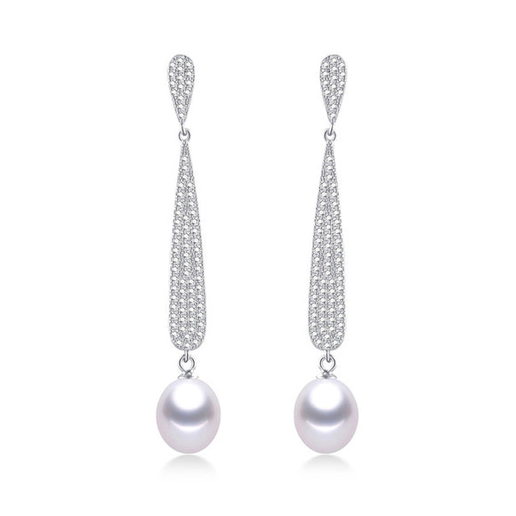 High Class S925 Silver Drop Earrings with Natural Freshwater Pearls