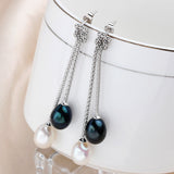 Sophisticated S925 Silver Drop Earrings with Glittering Natural Freshwater Pearls
