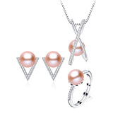 Unique Sterling Silver Jewelry Set with Glitzy Natural Freshwater Pearls