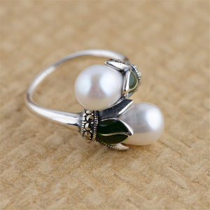 Elegant Vintage Natural Freshwater Pearls Ring with Pure 925 Sterling Silver
