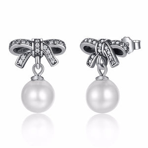 Elegant High Quality 925 Sterling Silver Pearls Earrings