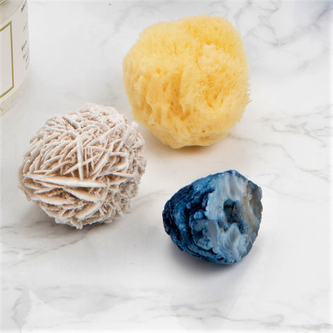 Sea Trio : Mini crystals + Natural sponge