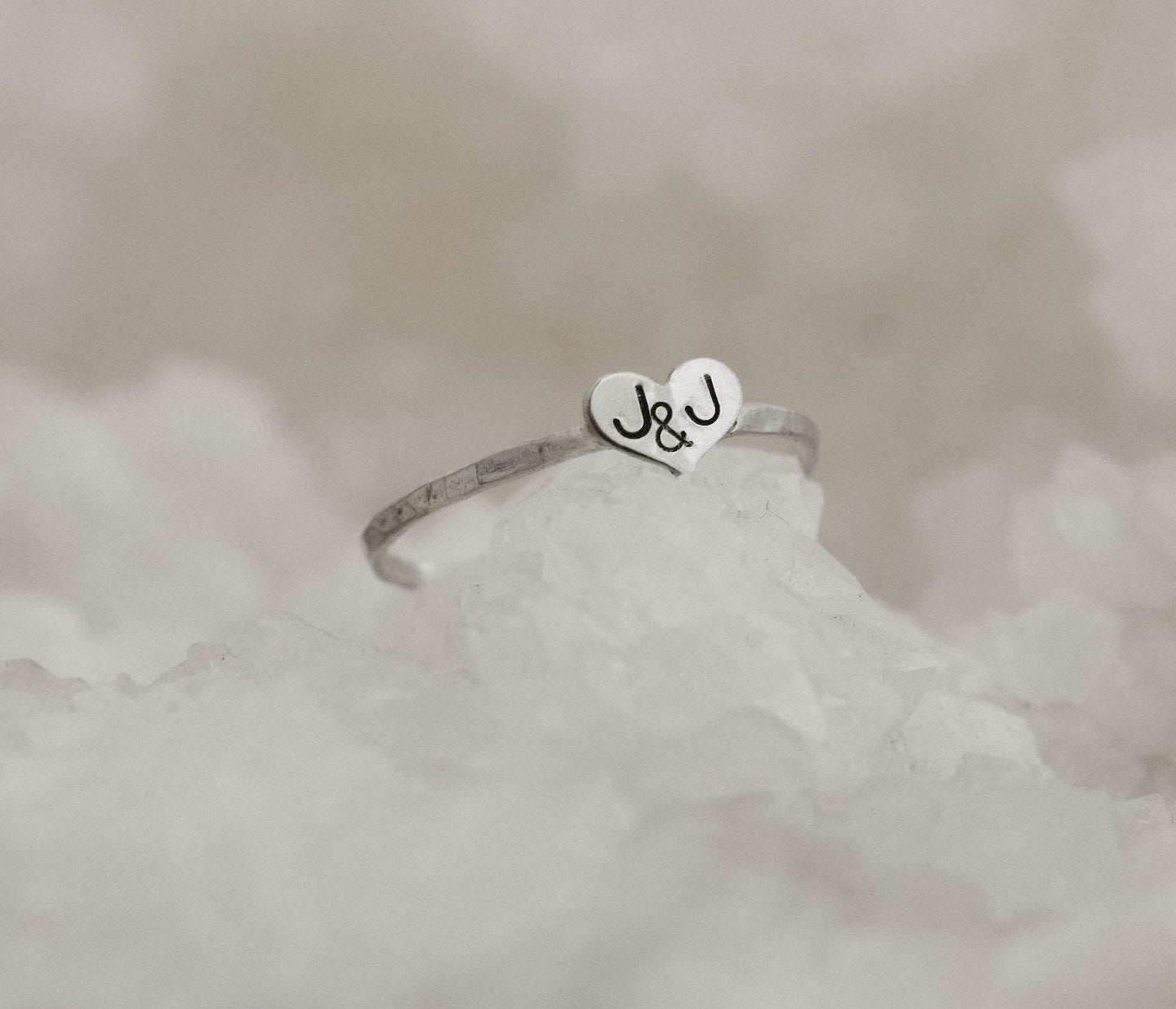 happy cactus brand hand stamped jewelry custom sterling silver initials heart ring textured band silver ring silver textured ring textured heart ring promise ring valentines day gift for her silver stacking ring with initials