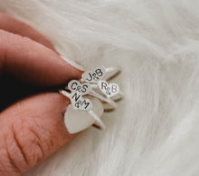 dainty initials heart ring