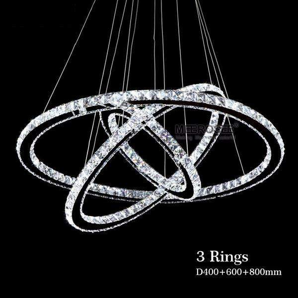 Modern Chrome Crystals Diamond Ring LED Chandelier