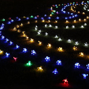 Solar String Lights 7 m 50 LED Peach Flower Waterproof Outdoor Decoration Lighting