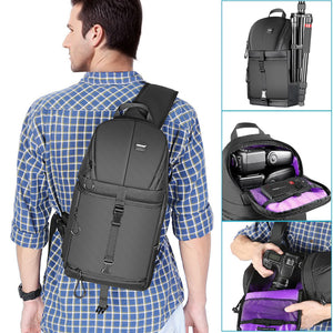 Black Professional Sling Waterproof Camera Backpack