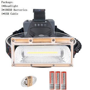 USB Power COB LED Headlight USB Rechargeable Head Lamp 3-Mode 18650 Battery light