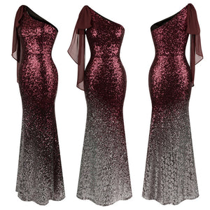 Vintage Blue Sequin Gradient Mermaid Long Evening Dress