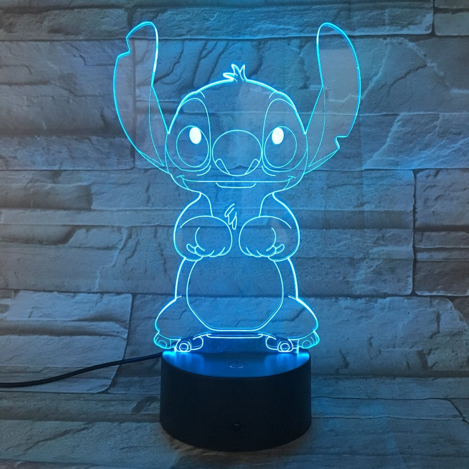 Cartoon Stitch 3D Lamp Bedroom Table Night Light Acrylic Panel USB Touch Base Lamp
