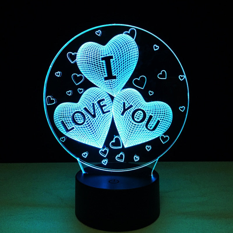 Valentines Day Gift 3D Lamp LED Night Light 7 Colors Table Lamp Home Decor Bulb