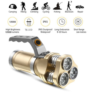 Powerful Rechargeable LED Flashlight 3 X T6 Led bead lamp 12000 Lumens Searchlight