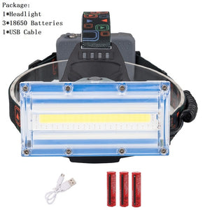 COB LED Headlight 3 Modes Red Blue Light Head Lamp Flashlight USB Rechargeable