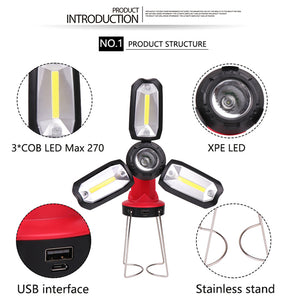 Multi-function Rechargeable COB Work light LED Flashlight Camping light 6 lighting modes