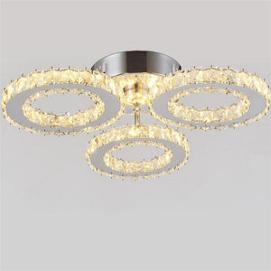 Modern K9 Crystal LED Ceiling Lights Stainless Steel Lustre For Kitchen Dinning Room
