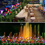 Outdoor Solar Garden Stake Lights with 4 Lily Flower Multi-color Changing