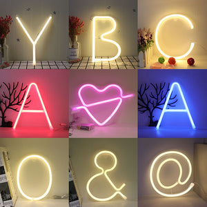 Night Light Neon Alphabet Lamps 26 Letters Numbers Color Changes Lamps