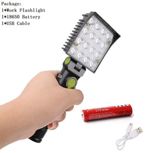 16 LED's Flashlights 2 in 1 Working Torch 4 Modes 18650 Flashlight with Strong Magnet Hook