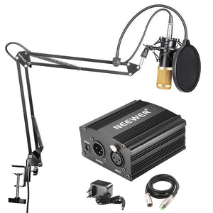Professional Condenser Microphone & NW-35 Suspension Boom Scissor Arm Stand with XLR Cable