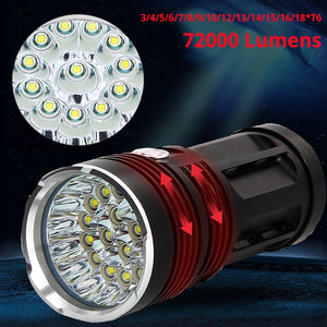 Powerful LED Flashlight 72000 Lumens T6 LED Torch Light Tactical Flashlight