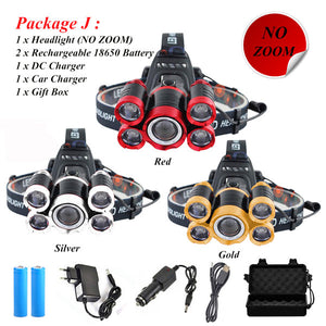 40000 Lumens Ultra Bright Headlamp 5*T6 LED Headlight 4 Mode Zoom Head Lamp