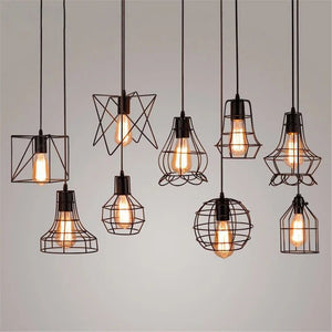 LED Pendant Lights Retro Industrial Style Coffee Restaurant Personality Bar Iron Cage Lamp