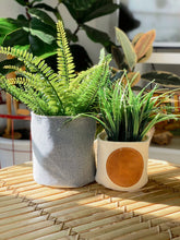 Mudcloth & Leather Planter Basket - FULL MOON