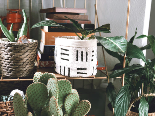 Black and White Mud Cloth Plant Basket