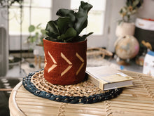 Mudcloth Planter Basket - TERRA COTTA CHEVRON